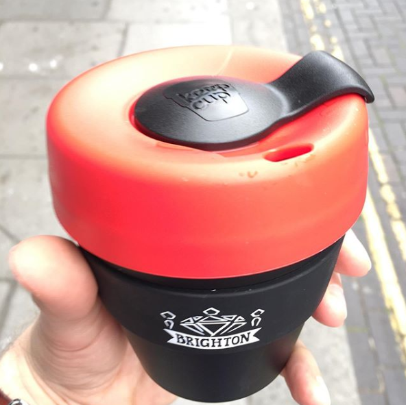 A Brighton Ruby branded keep cup